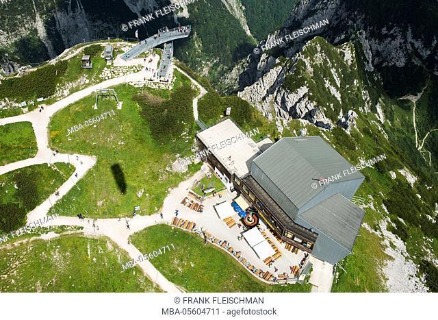 Alpspitz railway, Alpspix, Osterfelder, top terminal, mountain restaurant, Garmisch-Partenkirchen, aerial picture, Germany, Bavaria, Upper Bavaria