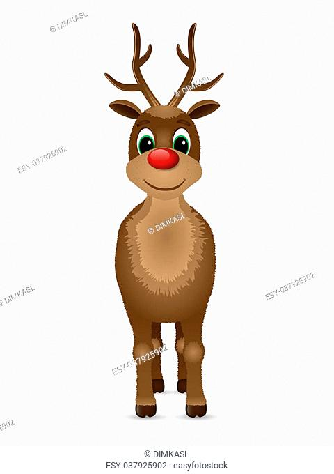Reindeer with red nose. Vector illustration
