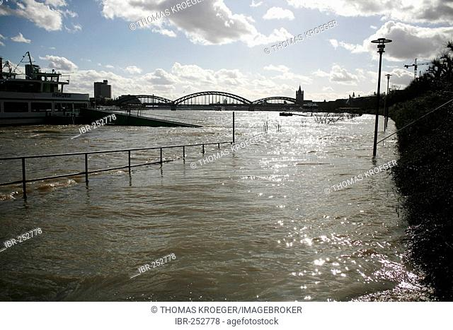 Rhine flooding, April 2007, Cologne, North Rhine-Westphalia, Germany