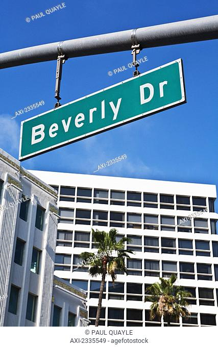Beverly Drive road sign; Los Angeles, California, USA