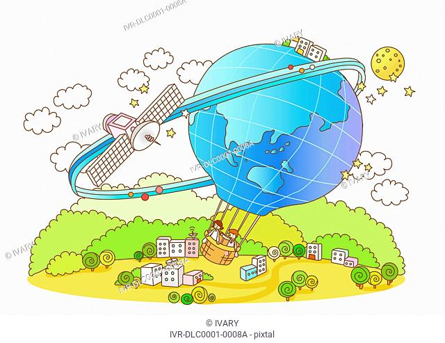 Business people in global balloon