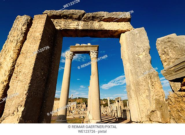 Stone door frame to the corner columns of the Agora at the Perge ruins Turkey