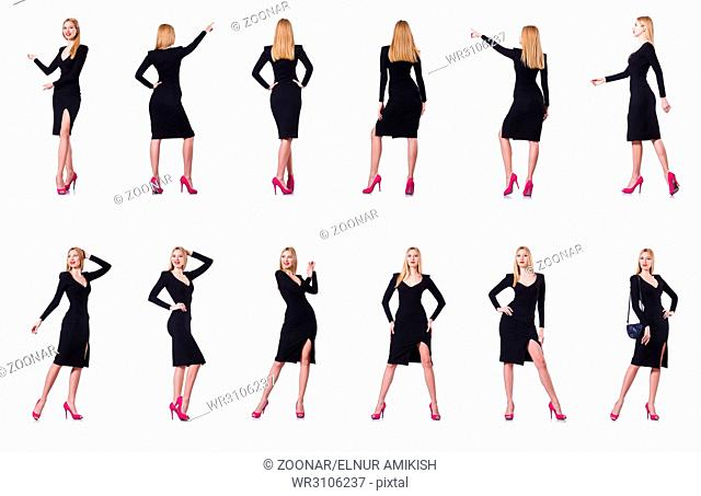 Young blonde girl in black dress showing isolated on white