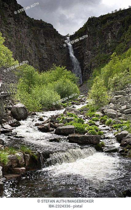 Njupeskär, highest waterfall in Sweden, Fulufjällets National Park, near Särna, Dalarna province, Sweden, Scandinavia, Northern Europe, Europe