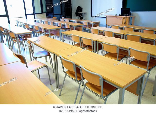 Classroom, School of Business Studies EUEE, Gipuzkoa Campus, UPV, EHU, Basque Country University, Donostia, San Sebastian, Gipuzkoa, Spain