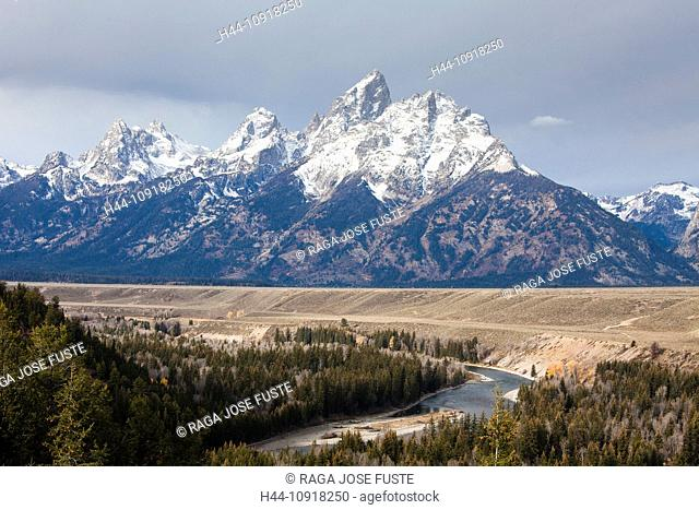 USA, United States, America, Wyoming, Grand Teton, National Park, Snake River, Tetons, huge, mountains, park, river, snow