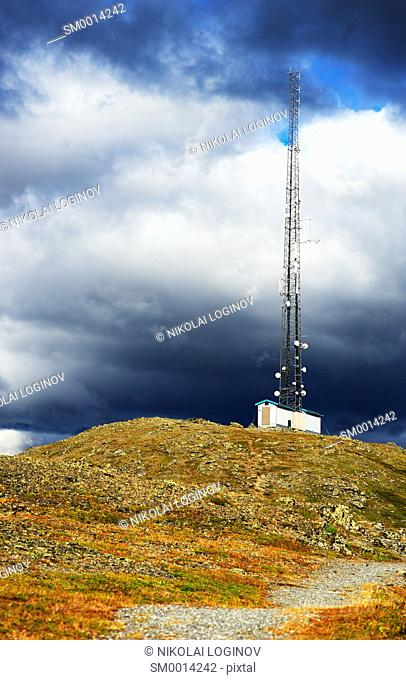 Vertical meteorological tower at Norway background hd