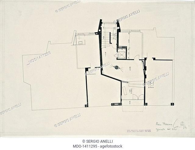 Block of flats Milano in Rovereto (Condominio Milano a Rovereto), by Baldessari Luciano, 1960, 20th Century, Indian ink on tracing paper, 44 x 62 cm