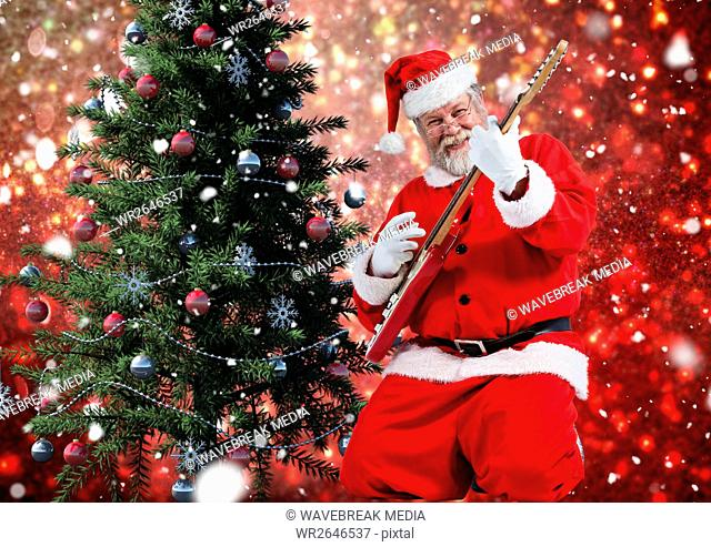 Santa playing electric guitar