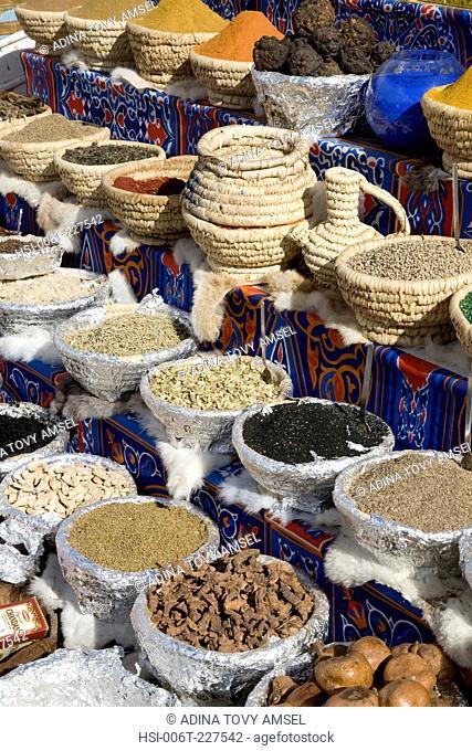 Still life. Baskets of spices on display in Sharm El Sheikh market. Egypt. Africa