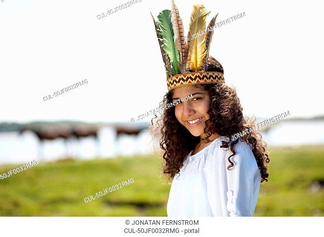 Girl wearing Native American costume