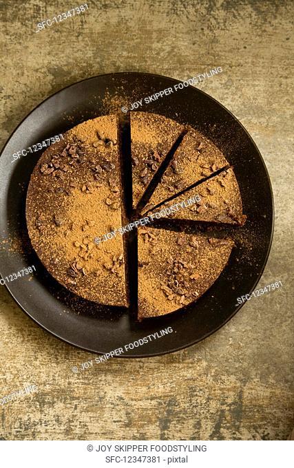 Vegan chocolate and walnut cake
