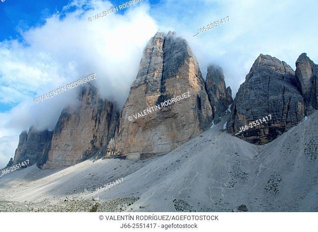Three Peaks of Lavadero. Dolomiti di Auronzo. Italy