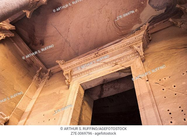 Detail of the portico to the entrance of The Treasury (Al Khazneh). Petra, UNESCO World Heritage Site, Jordan
