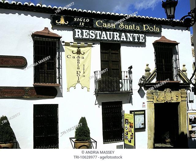 Ronda Costa del Sol Spain April 9thc Restaurant Casa Santa Pola on Calle Cuesta de Santa Domingo