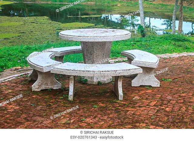Benches made of stone