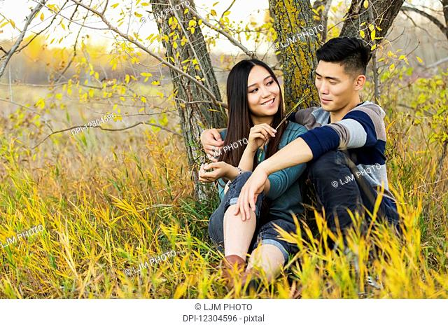 A young Asian couple enjoying quality time together outdoors in a park in autumn and sitting down under a tree as she is tickling his nose with a blade of...