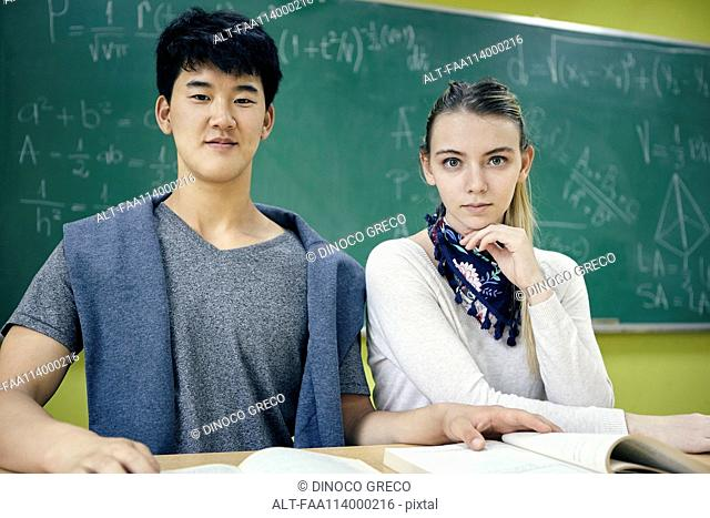 Students sitting in math class, portrait