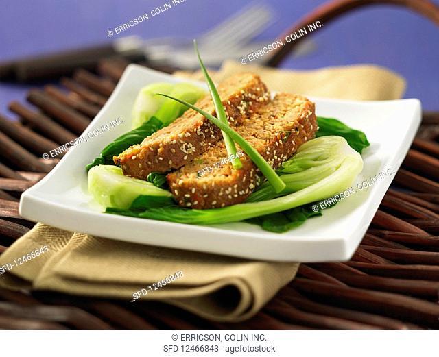 Salmon bread on Paksoi (Asia)