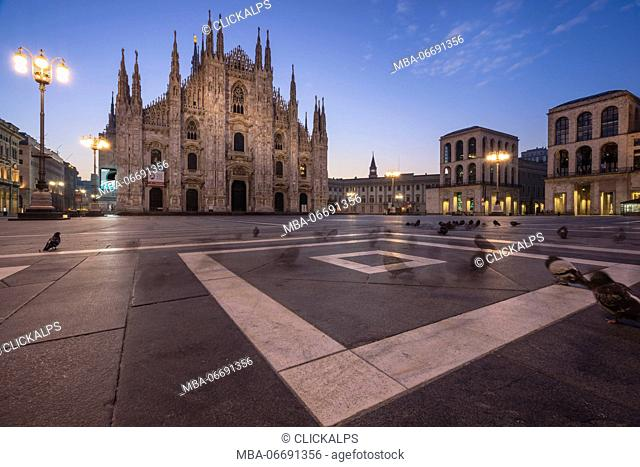 Cathedral Square, Milan, Lombardy, Italy. The Milan Cathedral at dawn