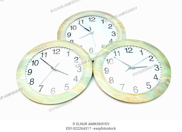 Round clocks isolated on the white background