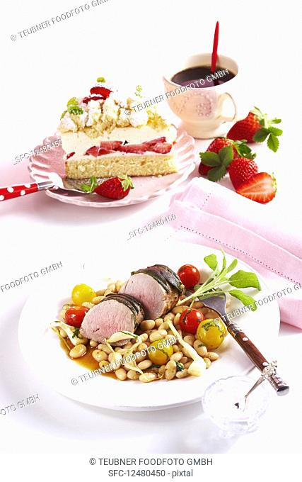 A summer menu with pork fillet, strawberry cake and coffee