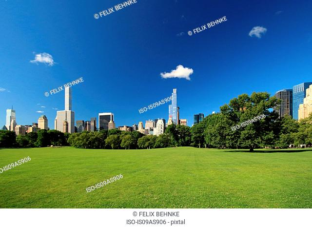 Cityscape seen from Central Park, Manhattan, New York City, USA