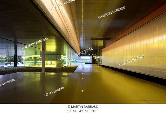 Illuminated architectural modern office lobby