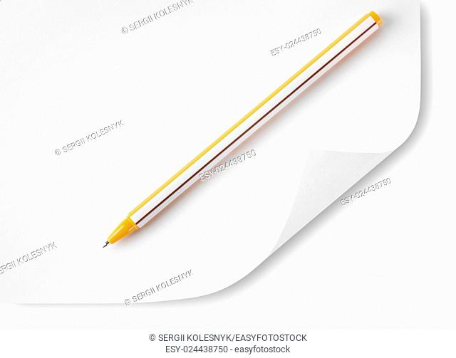 White sheet of paper and ballpoint pen isolated on white background. Clipping Path