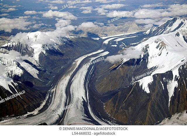 Aerial Views of Mt McKinley Denali National Park Alaska AK U S United States snow covered mountains glaciers icefields