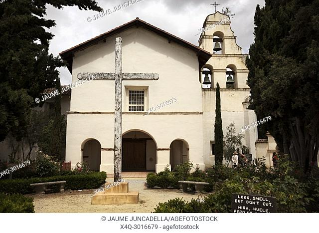 San Benito County, USA-June 12, 2017: Tourists visiting the mission San Juan Bautista of the royal road in California founded by the friar Junipero Serra