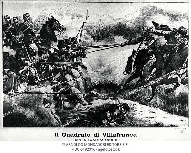 Italian Infantry Square during the Battle of Custoza (Un quadrato della fanteria italiana durante la Battaglia di Custoza), 19th Century, engraving