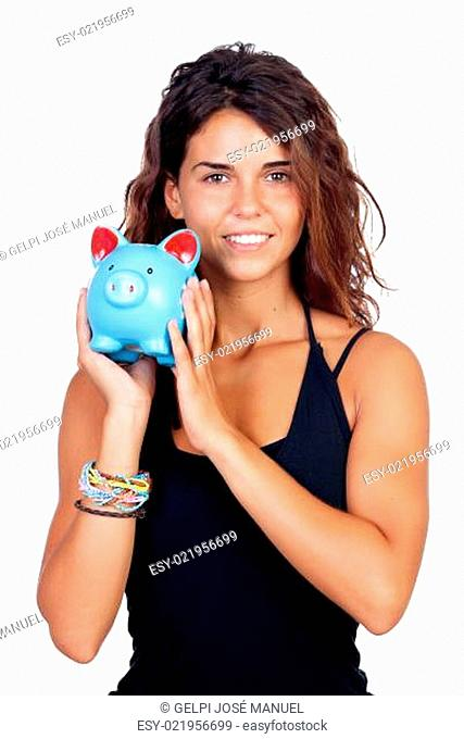 Casual girl with a blue piggy-bank