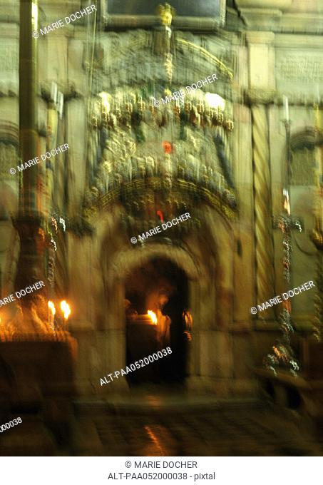 Israel, Jerusalem, Tomb of Christ in the Church of the Holy Sepulchre, blurred