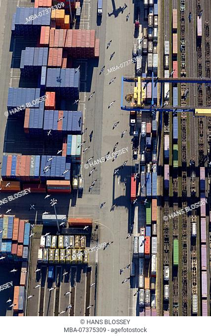 Aerial photo, container terminal with common cranes (Grus grus), Bliersheim, containers, Logport I, Duisburg-West, Duisburg, Ruhr area, North Rhine-Westphalia
