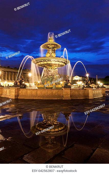 Fontaine des Fleuves on Place de la Concorde in Paris. Paris, France