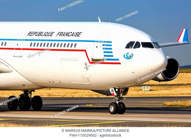 Paris, France - August 16, 2018: Republique Francaise Airbus A340 airplane at Paris Charles de Gaulle airport in France. | usage worldwide