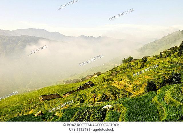 Dramatic scenery at the mountainous region of LongJi in Guangxi, China