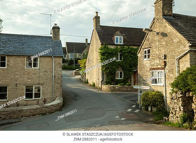 Spring afternoon in the Cotswold village of North Cerney, Gloucestershire, England