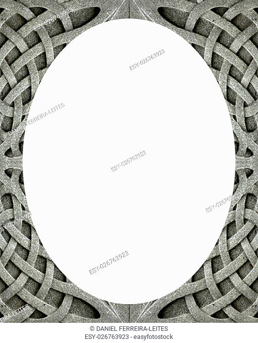 White circle frame background with oriental decorated design borders