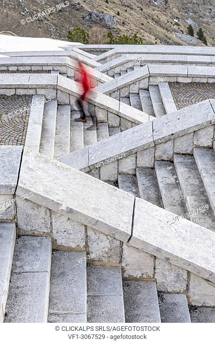 Monte Grappa, province of Treviso, Veneto, Italy, Europe. STAIRS at the military memorial monument