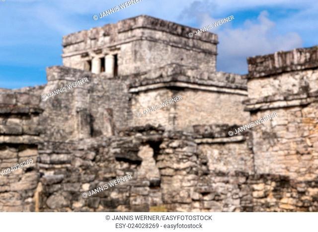 Blurred background of complex of Mayan origin at Tulum, Quintana Roo, Mexico