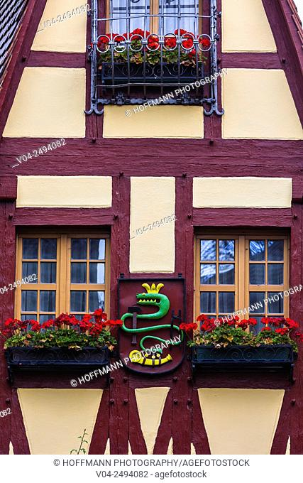 Detail of the charming Gerlachschmiede (Old Forge) in Rothenburg ob der Tauber, Bavaria, Germany, Europe