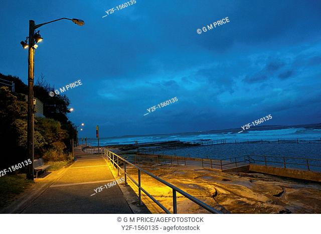 pathway at Conulla beach on stormy night