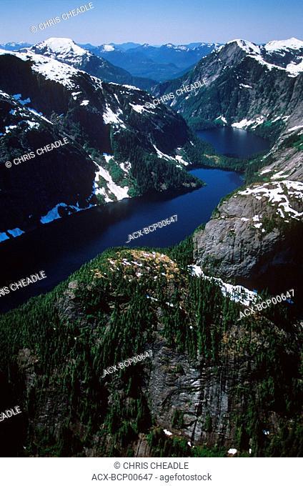Aerial of Fiordland Provincial Recreational Area, Central Coast along Inside Passage, British Columbia, Canada