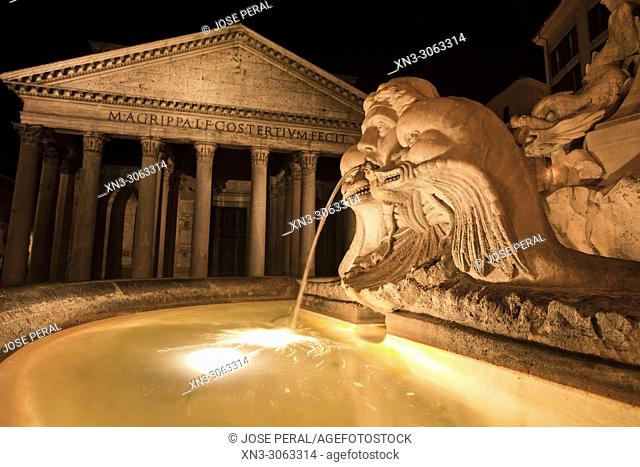 On background Pantheon, Roman temple with Corinthian columns, Fountain of the Pantheon, Fontana del Pantheon, Piazza della Rotonda square, Rome, Lazio, Italy