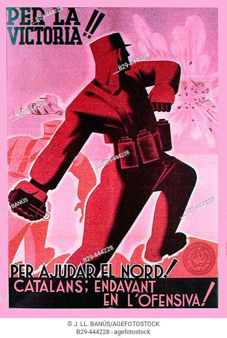 Spanish civil war (1936-1939): Per la victoria! Per ajudar el nord! Catalans; endavant en l'ofensiva! (Catalan Republican poster)
