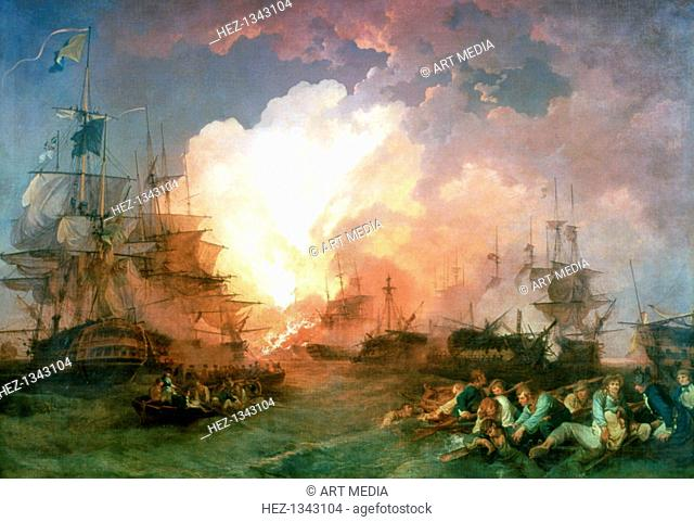 'The Battle of the Nile', 1800. The battle was fought at night in Abu Qir Bay, near Alexandria, Nelson found the French fleet at anchor and attacked