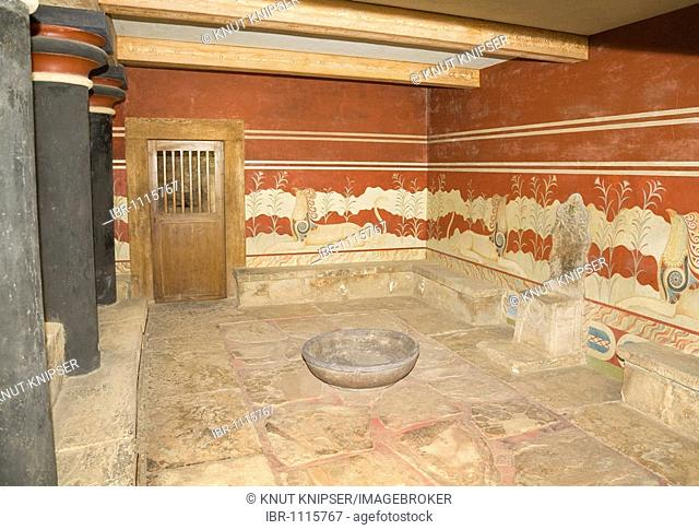 The throne room on the grounds of the Minoan excavation of Knossos, Heraklion, island of Crete, Greece, Europe