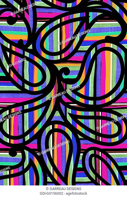 Paisley over brightly colored stripes